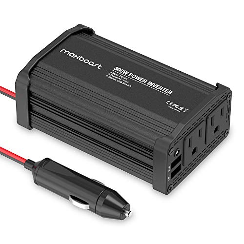 Maxboost 300W Power Inverter Dual 110V AC Outlet and 2.4A/24W USB Car Charger [Aluminum & PC Body] DC 12V to 110V AC + DC 5V USB Battery Charger Compatible with Laptop,iPhone,Tablet,Other Smartphone