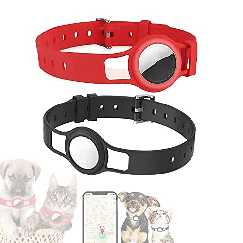Silicone Protective Case for Apple Air-tag Pet Dog Cat Adjustable Collar Strap,GPS Smart Anti-Lost Tracker Location Finder,Pet Loop Holder for Air-tag (C)