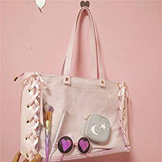 Adebie - Casual Pink Tote Bag for Girl Lovely Transparent Ribbon Clear Fashion Japanese Women Large Capacity Handbags Canvas Shoulder Bag Pink []