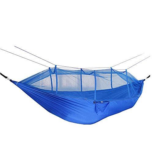 Ligero Doble Hamaca Plegable con Bolsa De Almacenamiento + Correa,300kg de Capacidad de Carga (265x140cm) Azul Hamaca Silla para Jardín/Camping Al Aire Libre