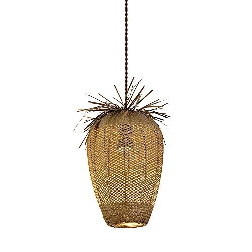 JIANAND Lámpara Colgante Retro E27 Tejida de Mimbre con césped, semiempotrada con Alambre Ajustable, lámpara Colgante de Techo para Entrada, Granja, Patio, decoración, iluminación (D15 Pulgadas)