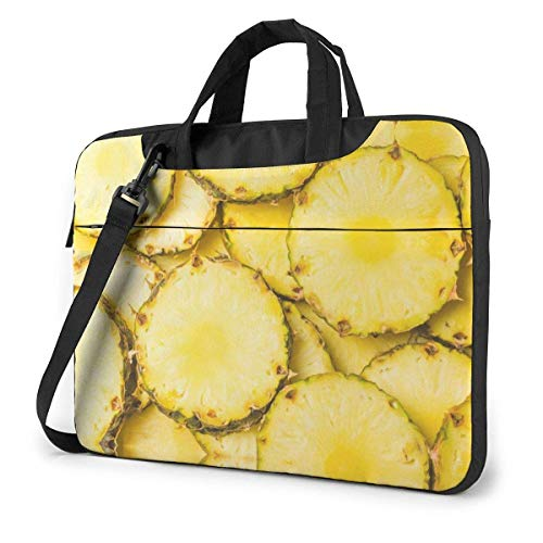 15.6 inch Laptop Shoulder Briefcase Messenger Pineapple Juicy Yellow Slices Pattern Tablet Bussiness Carrying Handbag Case Sleeve