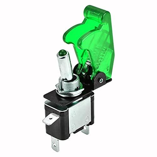 L1YAFYA LED portátil ON/Off Toggle Switch Control Car 12V 20A Cubierta de misiles iluminada Piezas de Repuesto automático (Color : Green)