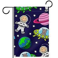 ガーデンサイン庭の装飾屋外バナー垂直旗漫画のシームレスな宇宙宇宙飛行士の惑星 オールシーズンダブルレイヤー