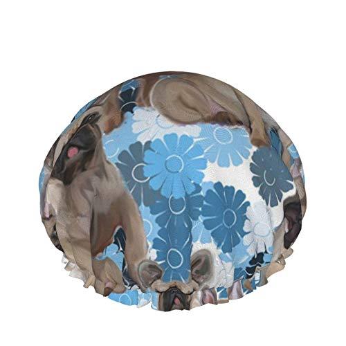 Gorro de ducha para mujer Bulldog francés Tela floral Reutilizable Cabello largo Cabello grueso Gorro de baño impermeable