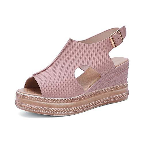 LBWNB Sandalias con Plataforma Mujer Zapatos De Verano con Entresuela Zapatos De Playa Ligeros Cierre De Gancho Y Bucle para Caminar Zapatos,Rosado,36