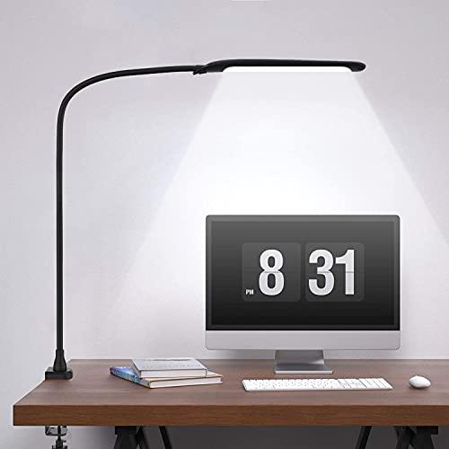 デスクライト Micro-hertz 消费電力:9W 電気スタンド【三種類調色・無段階調光】 90個LEDチップ 演色数>85 視力ケア 平面発光 照度値1050LUX クランプライト・アームライト・スタンドライト PC作業・仕事・勉強・読書ランプ 自然光 目に優しい