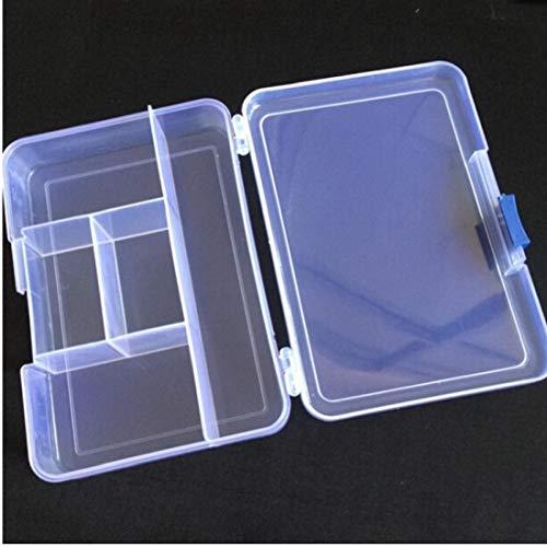 Hotaden 1pc plástico Transparentes de Joyas 5 Compartimiento Pendiente del Anillo de la Caja de almacenaje del Grano Bin envase del Caso