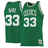 WOLFIRE WF Camiseta de Baloncesto para Hombre, NBA, Boston Celtics # 33 Larry Bird Bordado, Transpirable y Resistente al Desgaste Camiseta Retro, Classic (Bird Verde, S)