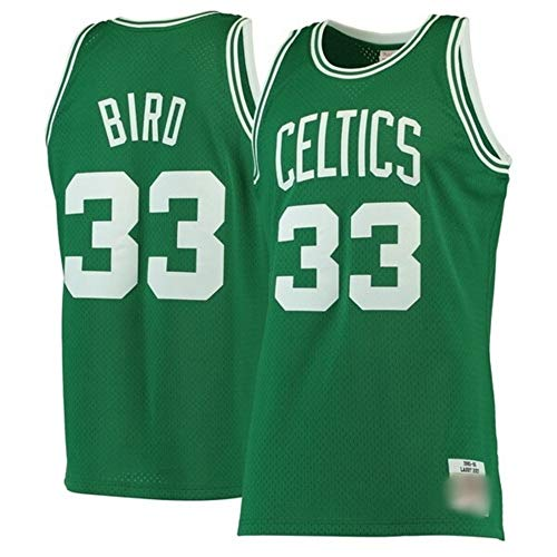 WOLFIRE WF Camiseta de Baloncesto para Hombre, NBA, Boston Celtics # 33 Larry Bird Bordado, Transpirable y Resistente al Desgaste Camiseta Retro, Classic (Bird Verde, S)