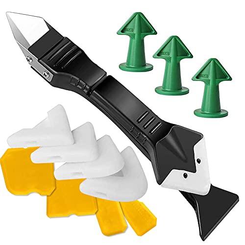 Eliminador de silicona, 13 herramientas de sellado 3 en 1, rasqueta y boquilla de silicona, herramienta para juntas para baño, cocina y azulejos