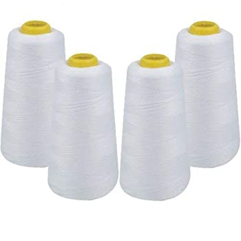 IZO Home Goods 4-Pack of 6000 Yards  Each  White Serger Cone Thread All Purpose Sewing Thread Polyester Spools Overlock  Serger,Over Lock Merrow Single Needle