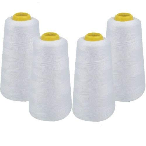 Sewing Thread Kit Cotton 2-Pack of 3000 Yards White Black for spools All Purpose 100/% Spun Polyester Serger Overlock Cone with 7 Needles Serger,Over Lock, Merrow, Single Needle