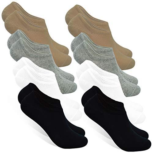 STYLE FOREVER Premium Sneaker Socken für Damen und Herren 8er-Pack Baumwolle Füßlinge für Sport Arbeit und Freizeit (2x Schwarz + 2x Weiß + 2x Grau + 2x Beige, 39-42)