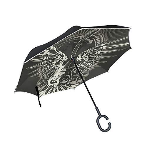 Drachen Teufel Gitarre Invertierter Regenschirm UV-Schutz Winddichter Umbrella Invertiert Schirm Kompakt Umkehren Schirme für Auto Jungen Mädchen Reise Strand Frauen
