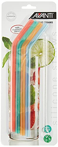 Avanti 14913 Silicone Straws with Cleaning Brush 4 Piece Set, Multicolour