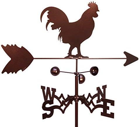 Stainless Metal Rooster Weathervane Roof Mount Weather Vane Barn Scene