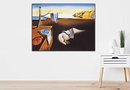 Cuadro Lienzo Persistencia de la Memoria Salvador Dali Relojes Blandos - Lienzo de Tela Bastidor de Madera de 3 cm - Fabricado en España - Impresión en Alta resolución – Varias Medidas (50, 37)
