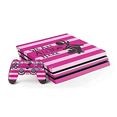 Skinit Decal Gaming Skin for PS4 Pro Console and Controller Bundle - Officially Licensed Disney Cheshire Cat We are All Mad Here Design