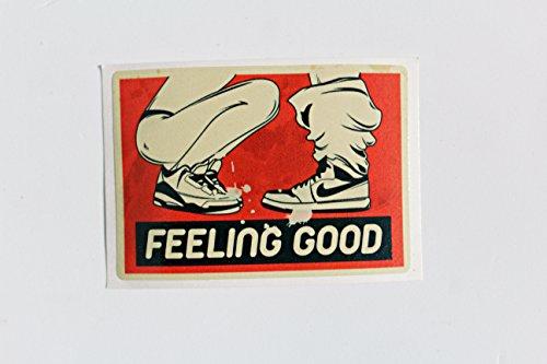 "greestick Auto Aufkleber ""Feeling Good"" by Girl Sticker Bomb rot einzeln für Auto Skateboard Helm Longboard Laptop Snowboard Vinylaufkleber Gepäck Decals"