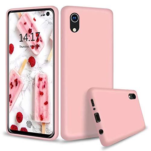 NiaCoCo Compatible con iPhone XR Funda Silicona Líquida Ultrafina Carcasa de Telefono Gel Goma Suave Tela Bumper Shockproof Resistente a Los Arañazos Cover(Rosa)
