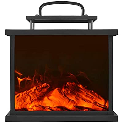 HN HAIINAA Flameless Lantern Realistic Fireplace Light, 3D Simulation Flame with Rectangle Black Plastic Case, 3C Battery Powered 6 LED Artificial Fireplace with Sitting Decoration for Indoor/Outdoor