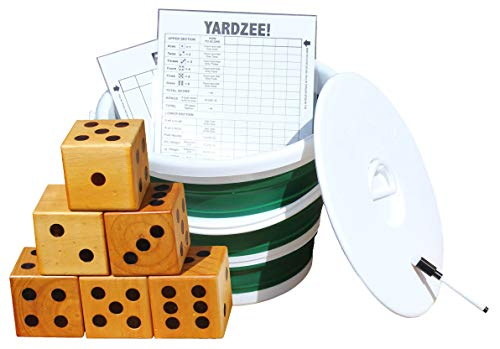 Backyard Recess Yardzee & Yard Farkle Giant Wooden 6 Dice Set for Outdoor Fun Lawn Games Picnic Barbeque Party Tailgaiting & Special Events with Collapsible Bucket & Lid Scorecards & Markers