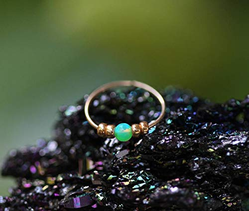 Thin 14k Gold FilledNose Ring - 2 mm Green Opal piercing Nose Hoop - 24 gauge very Thin Nose Hoop Tiny Piercings
