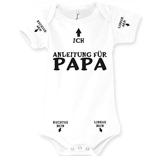 Spruchreif24de Baby Body Strampler Anleitung für Papa Geburt Geschenk (0-3 Monat 62cm)