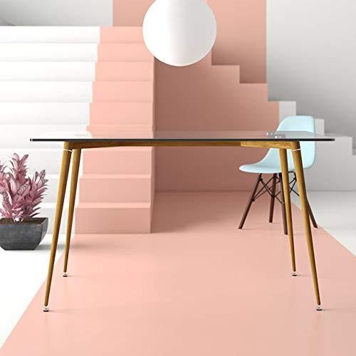 EBS My Furniture Office Mid Century Computer-Schreibtisch, 0,8 cm, gehärtetes transparentes Glas, Schreibtisch mit natürlicher gebeizter Holzhaut, Metall-Beingestell für die Arbeit (nur Tisch)
