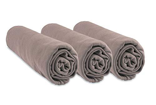 Lot de 3 draps Housses Bambou pour Couffin 32x72 - Taupe