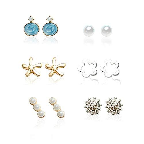 Pendientes de perlas y aros para mujer, plateado y dorado, con brillantes. (6 dorado y plateado)