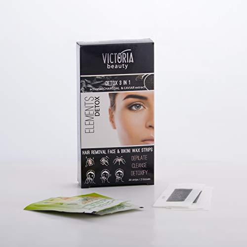 Victoria Beauty - Detox Wachsstreifen für Gesicht und Bikini, Kaltwachsstreifen mit Aktivkohle, Wax Strips für Frauen, Wachs Haarentfernung, Enthaarungswachs (1 x 20 Stk.)