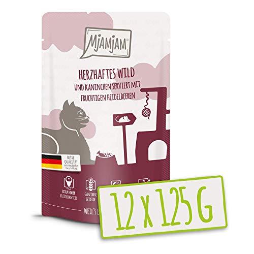 MjAMjAM - Premium Nassfutter für Katzen - Quetschie - herzhaftes Wild & Kaninchen an fruchtigen Heidelbeeren, 12er Pack (12 x 125 g), getreidefrei mit extra viel Fleisch