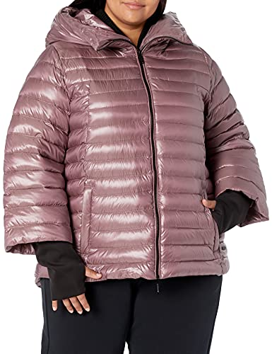 Calvin Klein Women's Performance Plus Size Puffer Jacket, Metallic Rosewood, 3X