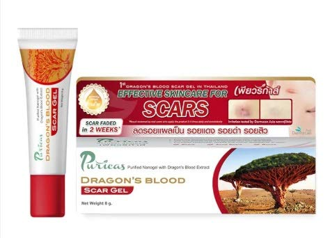 Puricas Dragon's Blood Scar Gel Treat Keloid, Surgery & Acne Scars 8 g.