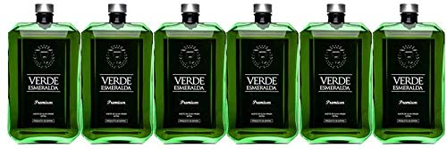 Caja 6 Botellas de 500ml Verde Esmeralda Premium | Aceite de Oliva Virgen Extra...