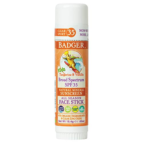 Badger - SPF 35 Clear Zinc Kids Sunscreen Stick - Tangerine & Vanilla - Broad Spectrum Water Resistant Reef Safe Sunscreen, Natural Mineral Sunscreen with Organic Ingredients .65 oz