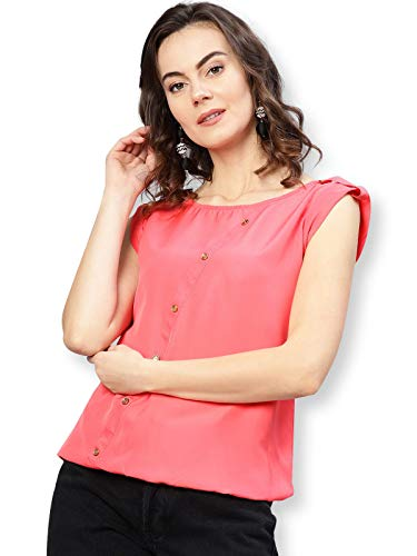 Pannkh Women's Coral Top with Fake Shoulder-Tab