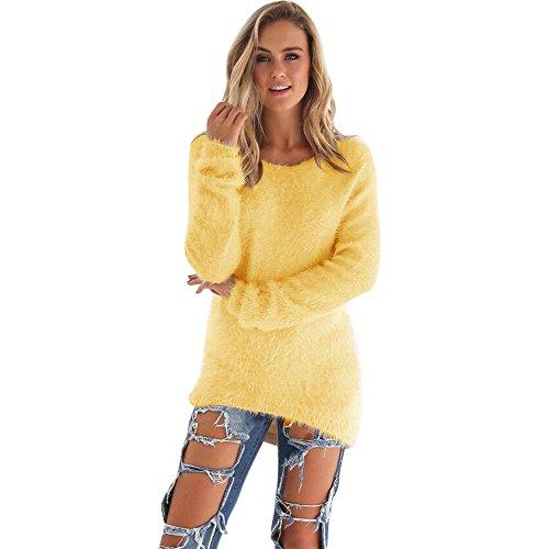 Pull Femme Hiver Pas Cher A La Mode Chaud Tunique LâChe Solide Tops Chemisier Pin Up Couleur Unie À Manches Longue Peluche Sweater (L, Jaune)