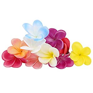 Bunch of 10 PU Real Touch Lifelike Artificial Plumeria Frangipani Flower Bouquets Wedding Home Party Decoration (Assorted Color)