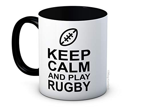 Taza de café con texto 'Keep Calm And Play Rugby'