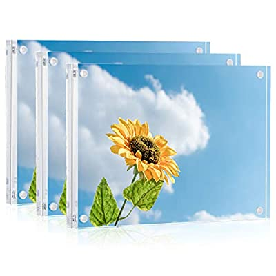 ONE WALL 5x7 Acrylic Picture Frame, Clear Free Standing Double Sided Magnetic Photo Frame for Tabletop Desktop Display, 3 Pack