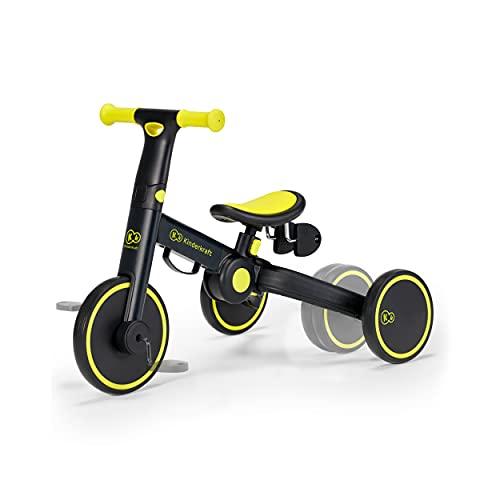 kk Kinderkraft Dreirad 3in1 4TRIKE, Leicht Rutscher, Laufrad, Zusammenklappbar, ergonomische Sattel, ab 12 Monat bis 5 Jahre, Schwarz