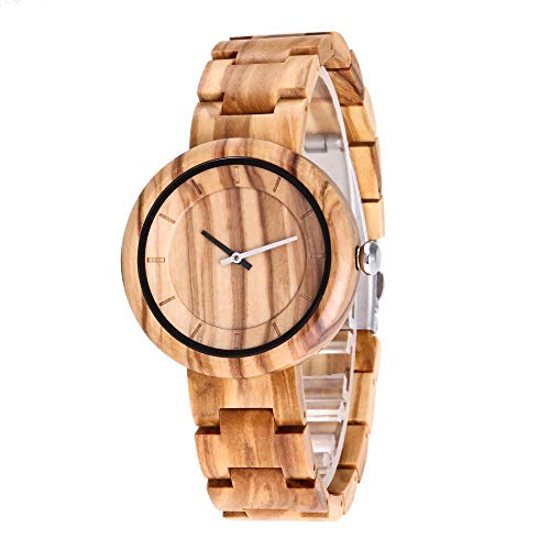 Relojes de Pulsera para Mujer, Relojes de Madera, Pulsera de Madera y Mecanismo de Cuarzo