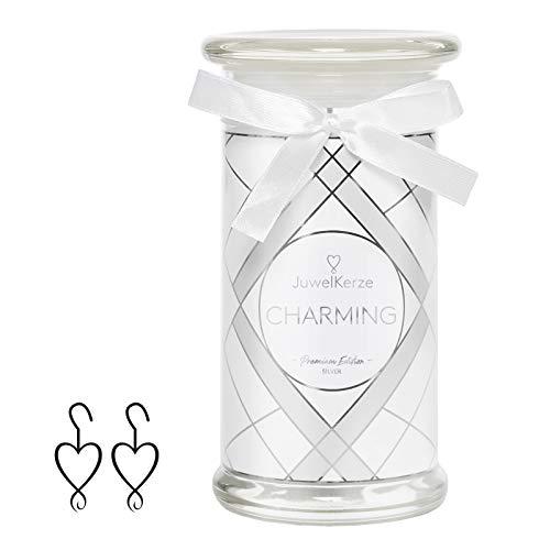 JuwelKerze Schmuckkerze 'Charming' große weiß Duftkerze mit echtem 925er Sterlingsilber Schmuck (Ohrringe) - Kerze mit Schmucküberraschung als Geschenk für sie
