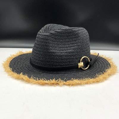 TSP Sombrero Panamá para niñas de rafia de paja Fedora masculino, sombrero de sol para mujer, verano, playa, visera para sol, gorra de jazz, sombrero de sol (color: negro paja panamá)