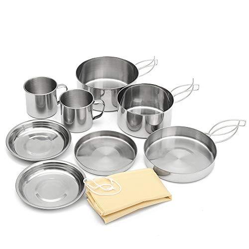 IWILCS Juego de 8 utensilios de cocina de acero inoxidable, para camping,...