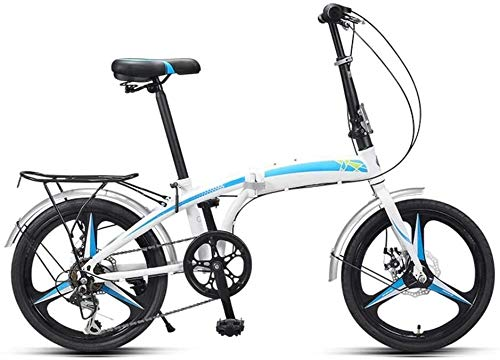 20 Pulgadas Bicicleta Bici Ciudad Plegables Adulto Hombre Mujer, Bicicleta de Montaña Btt MTB Ligero Folding Mountain City Bike Doble Suspension Bicicleta Urbana Portátil, H096ZJ