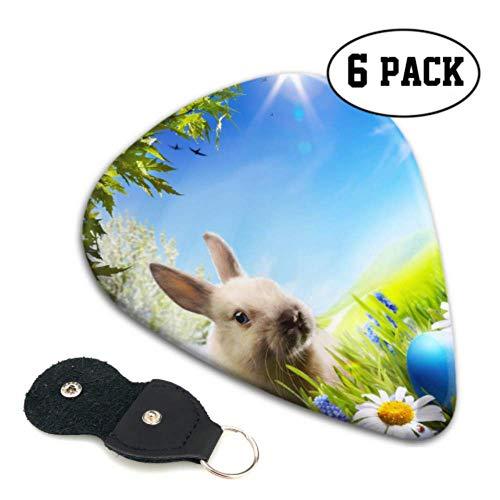 Art Little Easter Bunny Easter Eggs Best Guitar Picks Children Guitar Picks 6 Pack Heavy 0.46 MM Gift For Bass,electric & Acoustic Guitars